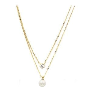 Gold double-chain crystal pearl necklace